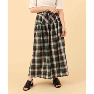 スカート 【Nanea】変化織りチェックギャザースカート