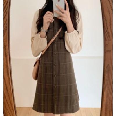 韓国 ファッション レディース ジャンパースカート チェック柄 ミニ丈 大きいサイズ Aライン フレア レトロ ガーリー 秋冬