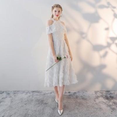 パーティードレス 結婚式 ワンピース ドレス 大きいサイズ 3L ウェディング カラードレス ピンク 二次会 ドレス 花嫁 ミモレ丈 全4色