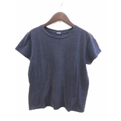 【中古】ジャーナルスタンダード JOURNAL STANDARD カットソー Tシャツ クルーネック 半袖 紺 ネイビー レディース