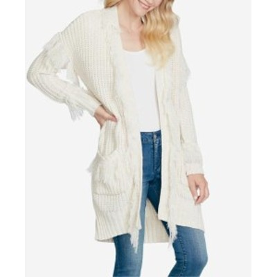 Jessica Simpson ジェシカシンプソン ファッション トップス Jessica Simpson Womens White Size Small S Fringed Cardigan Sweater