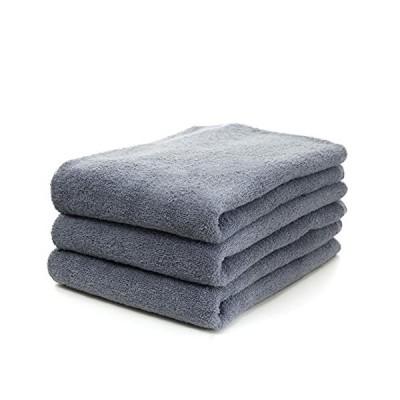 Fluffy BT GRY バスタオル バスタオルミニ 3枚セット 綿100% 瞬間吸水 速乾 家庭用 お風呂 ヘアドライ スポーツ レ