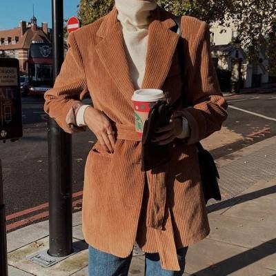 2色 コーデュロイ ジャケット コート ショート丈 レディース アウター おしゃれ かっこいい こなれ感 テーラード 無地 大人カジュアル コーデ ウエストマーク