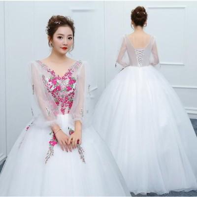 花嫁 カラードレス ウェディングドレスロングドレス フワフワドレス パーティードレス ステージ衣装 演奏会 結婚式 披露宴ドレス 二次会