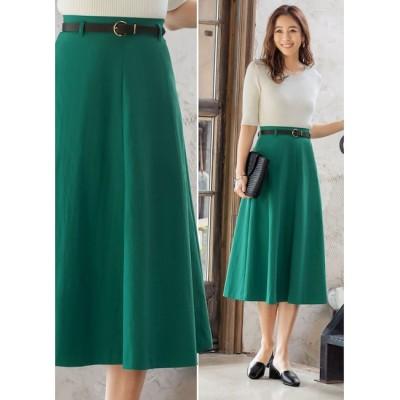 【スタイルデリ/STYLE DELI】 【Made in JAPAN】ベルト付きタスラン合繊フレアスカート