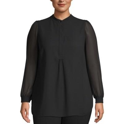 アンクライン カットソー トップス レディース Plus Size Sheer-Sleeve Tunic Anne Black