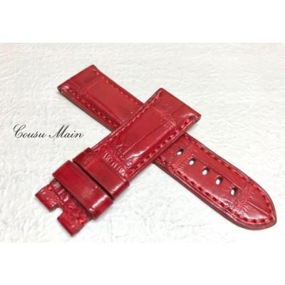 CousuMain 24mm-22mm   クロコダイル クロコベルト 両面 Dバックル用 手縫い クロコ時計ベルト(PANERAI パネライ 44mmケース)向 R394