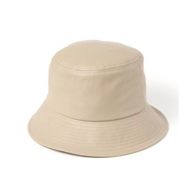 帽子 ハット フェイクレザーバケットハット