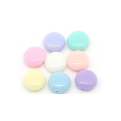 アクリルビーズ 20個 碁石型パステル(ミックスカラー)/ワークショップやクラフト体験でも使えるプラビーズが豊富♪(20個入)ミックスアソートセット/12mm