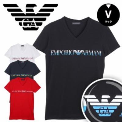 エンポリオ アルマーニ EMPORIO ARMANI Vネック 半袖 Tシャツ メンズ トップス インナー MEGALOGO かっこいい おしゃれ 綿 ブランド 男性