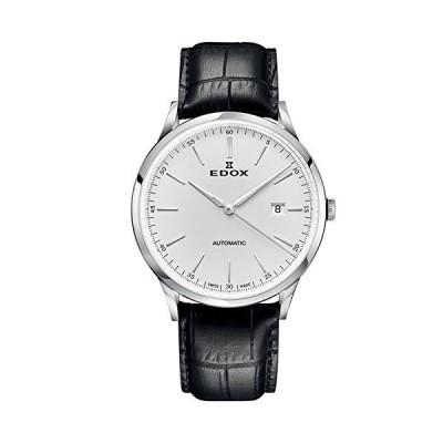 Edox Men's Les Vauberts 44mm Black Leather Band Steel Case Automatic Silver-Tone Dial Watch 80106 3C AIN並行輸入品