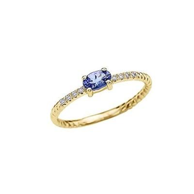 上品な10Kイエローゴールドダイヤモンドとソリティア楕円タンザナイトロープデザインスタッカブル/提案リング
