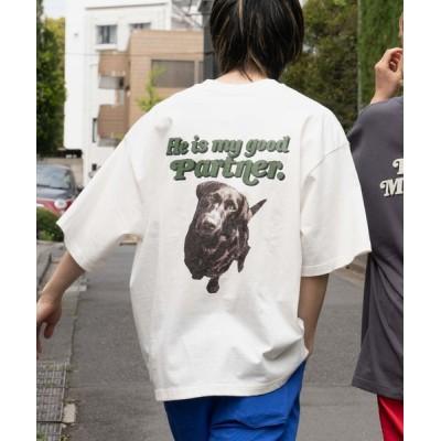 WEGO / WEGO/DOGプリント5分袖ビッグシルエットTシャツ MEN トップス > Tシャツ/カットソー