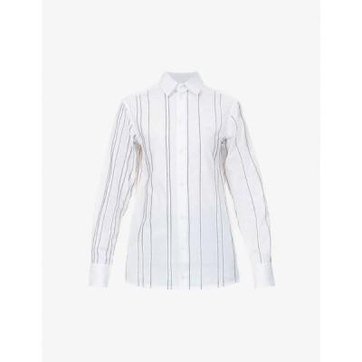 エスター クビッシュ ESTER KUBISZ レディース ブラウス・シャツ トップス Signature pinstripe cotton shirt WHITE