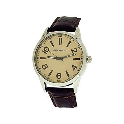 Mark Maddoxメンズ用クリームダイヤル& Brown Croc Effectストラップドレス腕時計hc6003–25