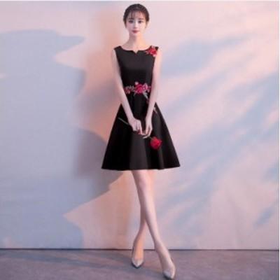 花柄 刺繍 パーティードレス ミニ丈 ひざ上丈 黒 大きいサイズ 3L 小さいサイズ ノースリーブ Aライン フレア 結婚式 お呼ばれ 全4色