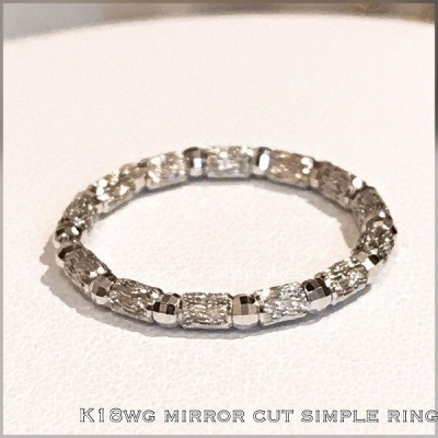 リング 18金 ホワイトゴールド k18 WG シンプル リング キラキラ / k18 WG mirror cut simple ring
