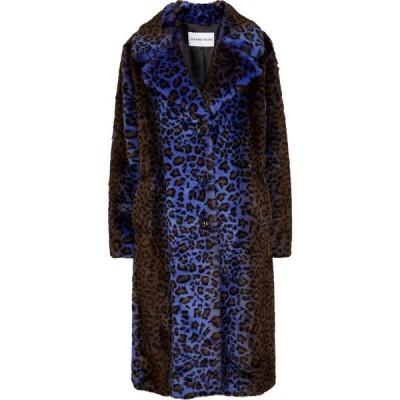 スタンドスタジオ Stand Studio レディース コート ファーコート アウター Fanny Leopard-Print Faux Fur Coat Blue