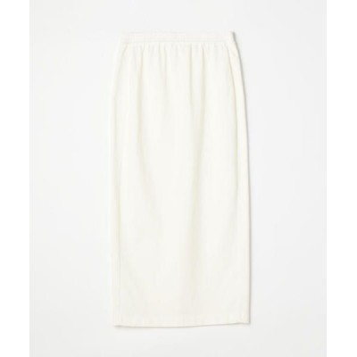 TOMORROWLAND/トゥモローランド スーピマコットンジャージー バックスリットタイトスカート 11 ホワイト 34(7号)