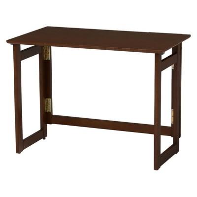 萩原 折りたたみテーブル VT-7811DBR テーブル 折り畳み式 簡単 代引不可