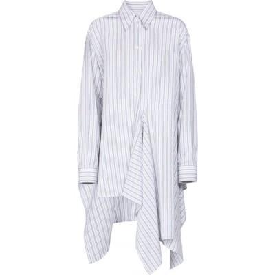 メゾン マルジェラ MM6 Maison Margiela レディース ブラウス・シャツ トップス Striped asymmetric shirt White Blue Stripe