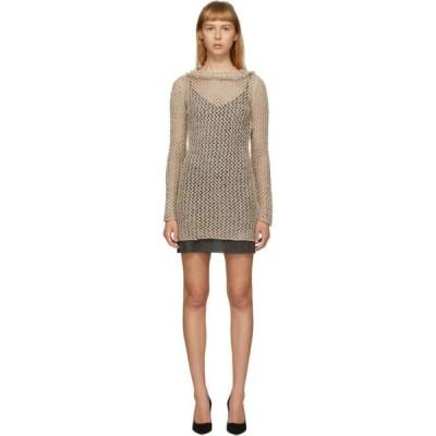 アラヌイ Alanui レディース ワンピース ワンピース・ドレス Beige Silk Raw Net Short Dress Dune brown