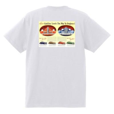 アドバタイジング キャデラックTシャツ 118 白 1940 c オールディーズ ロックンロール 1950's 1960's ロカビリー ローライダー