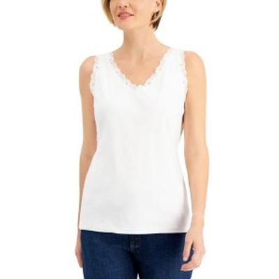 ケレンスコット レディース カットソー トップス Cotton Scalloped-Lace Tank Top Bright White