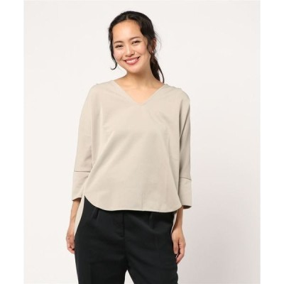 tシャツ Tシャツ バックプリーツVネック7分袖カットソー