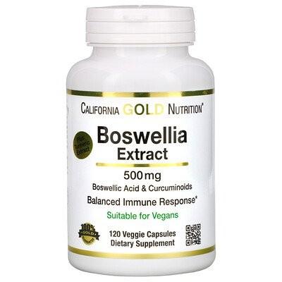 ボスウェリアエキス、ウコンエキス入り、500 mg、植物性カプセル120粒