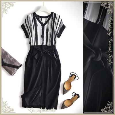 シンプル モノトーン ドレス パーティードレス ワンピース シルク ブラック 上品 大人かわいい 大きいサイズ/[cae48-nf180903]