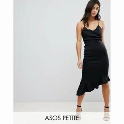 エイソス ワンピース ASOS PETITE Scuba Cami Pephem Midi Dress Black