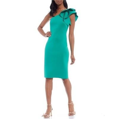 エリザジェイ レディース ワンピース トップス Ruffle One Shoulder 3D Scuba Sheath Dress