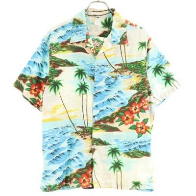 70s ハワイ製 アロハシャツ  カンガルーポケット メンズ 古着 200610 メール便可