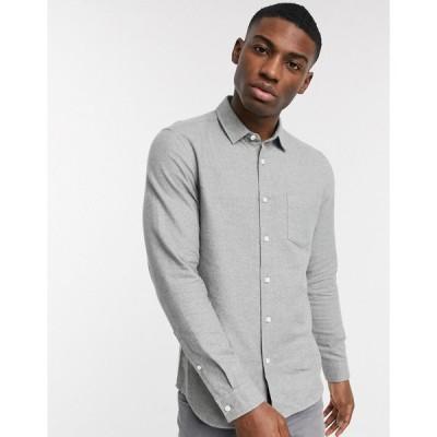 エイソス ワークシャツ メンズ ASOS DESIGN regular fit flannel shirt in light grey エイソス ASOS グレー 灰色