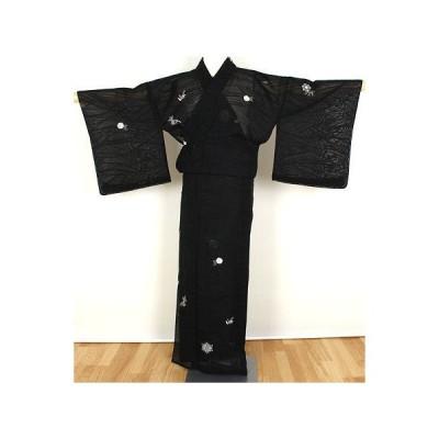 紋紗 小紋 正絹 総刺繍唐花 ki21143 トールサイズ お出かけはお着物で