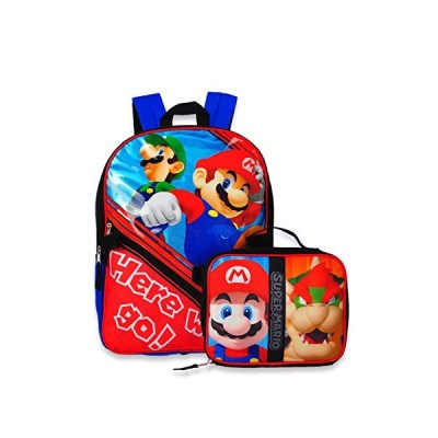 Super Mario Backpack with Insulated Lunchbox - red/blue, one size 並行輸入品