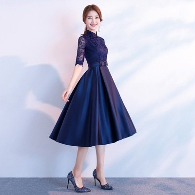 結婚式 ドレス ワンピース  お呼ばれ 大人 フォーマルドレス  ファッション  パーティードレス  体型カバー 同窓会