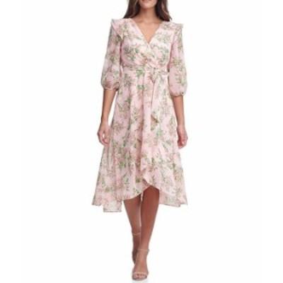 トミー ヒルフィガー レディース ワンピース トップス Floral Faux Wrap Midi Dress Ballerina Pink/Black