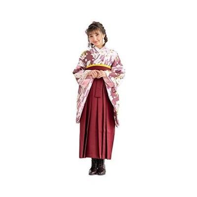 [キョウエツ] 袴セット 二尺袖着物 無地袴 花和柄 4点セット(着物、袴、袴下帯、襦袢) ジュニア (袴 紐下91, 03-B×袴:臙脂(