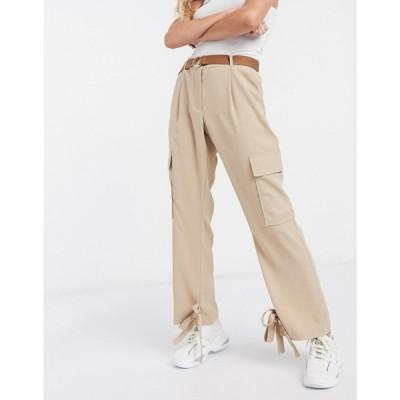 ヴェロモーダ Vero Moda レディース カーゴパンツ ボトムス・パンツ cargo belted trousers in tan ブルー