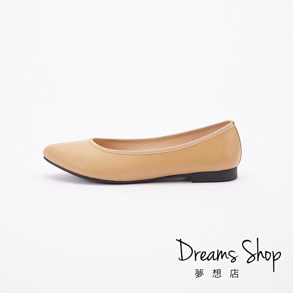 大尺碼女鞋 夢想店 MIT台灣製造職場有型真皮素面尖頭平底鞋1.5cm(41-48偏小)【JD2601】可可
