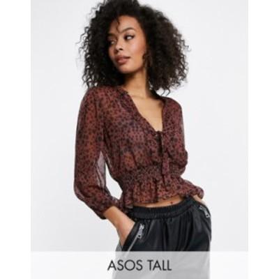 エイソス レディース シャツ トップス ASOS DESIGN Tall sheer long sleeve top with shirred waist in splotch print Multi