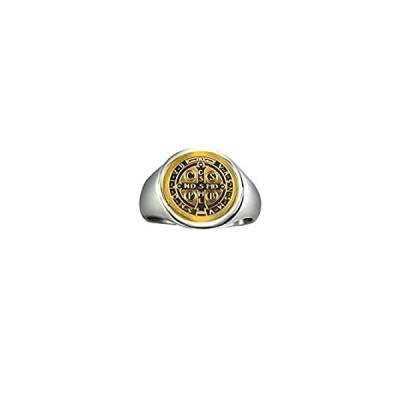 Catholic Unisex Gold Saint Benedict Ring Stainless Steel Catholic St Benedi