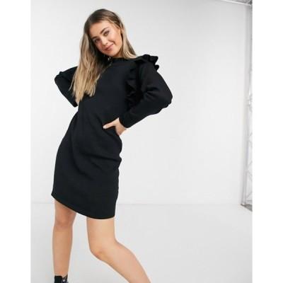キューイーディーロンドン レディース ワンピース トップス QED London ruffle detail sweater dress in black
