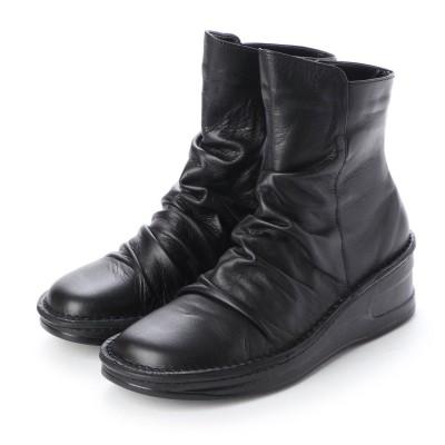 ウォーカーヒル Walker Hill 楽ちん ソフトレザー くしゅくしゅデザインブーツ (ブラック)