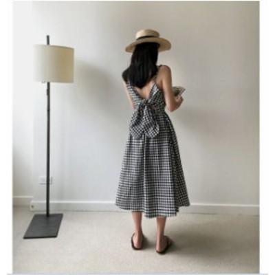 リボン ノースリーブ チェック ブラック バックシャン ワンピース ドレス パーティ リゾート 二次会 きれいめ 20代30代 大きい