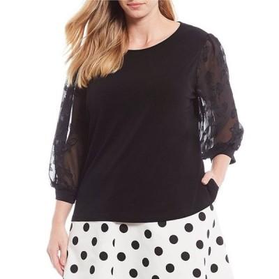 セセ レディース Tシャツ トップス Plus Size Lace Sleeve Blouse