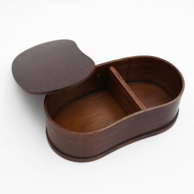 曲げわっぱ 豆型 弁当箱 シンプル 木製 一段 バンド付き(木目)BDH027A