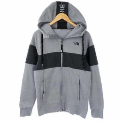 【中古】ザノースフェイス Train N Logo Block Jacket ジャケット スウェット ジップアップ S/P グレー チャコール